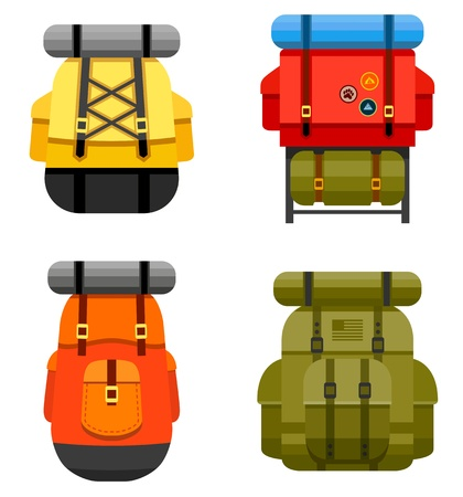 niño con mochila: Conjunto de gráficos mochila de camping y militares y los iconos