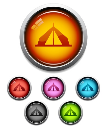 Glossy camping tent button icon set in 6 colors