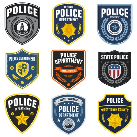 badge shield: Set of police law enforcement badges and patches