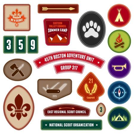 Set van scouting badges en insignes voor buitenactiviteiten