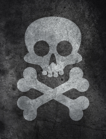 Dark concrete floor texture background with skull and bones
