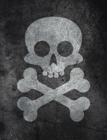 Donkere betonnen vloer textuur achtergrond met schedel en beenderen