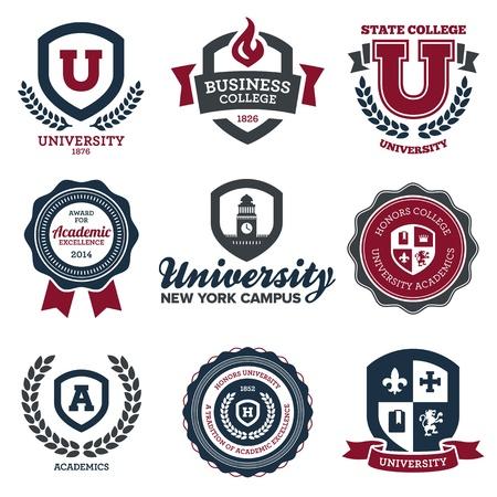 Juego de las crestas de la escuela de la universidad y la universidad y emblemas