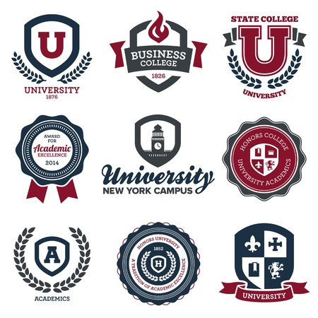 academics: Set of university and college school crests and emblems