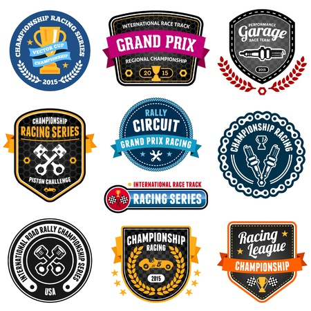 Set of car racing emblems and championship badges Ilustração