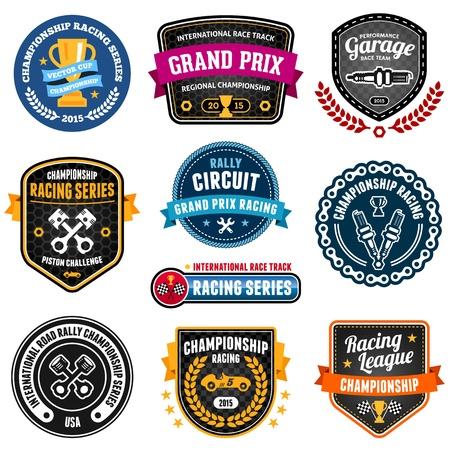 Set van autosport emblemen en badges kampioenschap