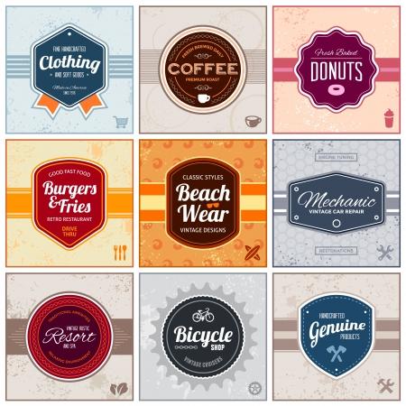 etiquetas de ropa: Conjunto de insignias de época retro y etiquetas con antecedentes