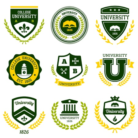 college building: Set of university and college school crests and emblems