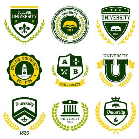 Set van universiteiten en hogescholen scholen toppen en emblemen Stock Illustratie