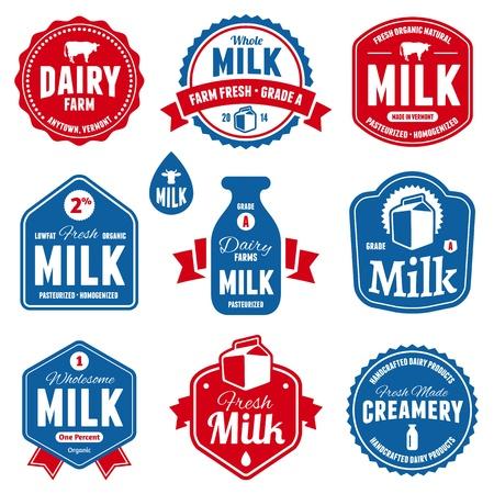 ミルクおよび酪農場プロダクト ラベルを設定します。  イラスト・ベクター素材