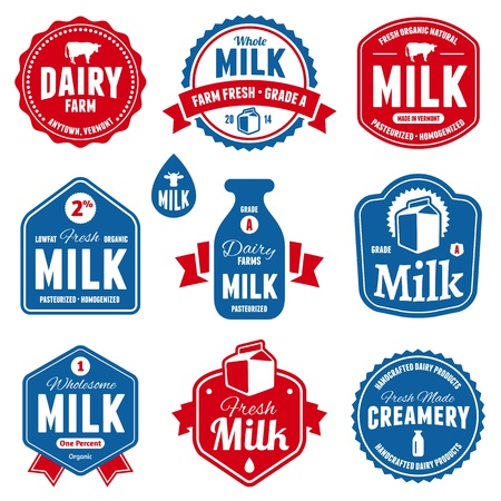 Set of milk and dairy farm product labels