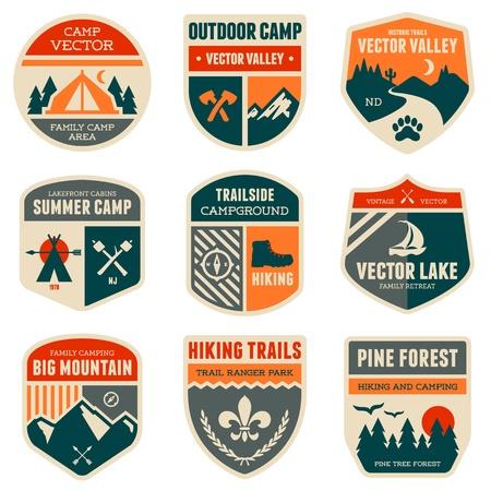 acampar: Conjunto de divisas del campo al aire libre de época y emblemas