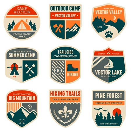 Set of vintage outdoor camp badges and emblems Illusztráció