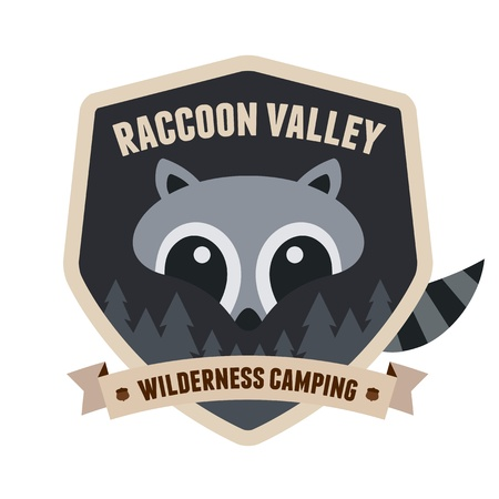 Outdoors emblem badge with raccoon character design