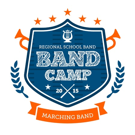 high: Band camp marching drum corp emblem badge Illustration