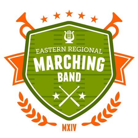 tambor: Marching band drum corp Dise�o de la insignia del emblema