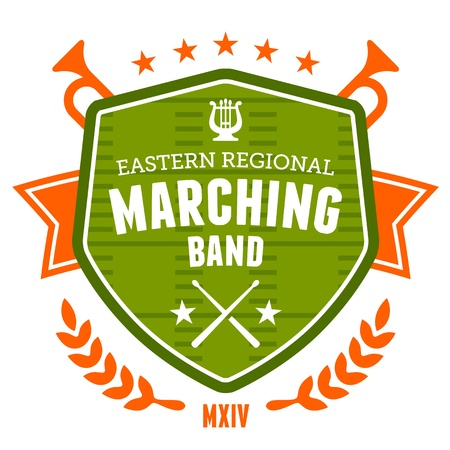 drums: Marching band drum corp emblem badge design Illustration