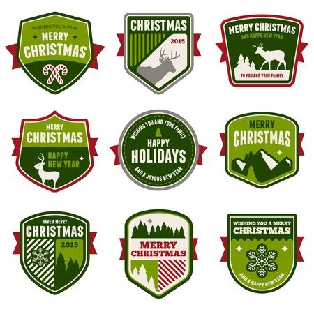 Set of vintage Christmas badges and emblems Ilustrace