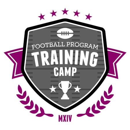 bannière football: Camp d'entraînement sportif conception d'emblème d'insigne de football