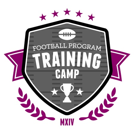 banni�re football: Camp d'entra�nement sportif conception d'embl�me d'insigne de football