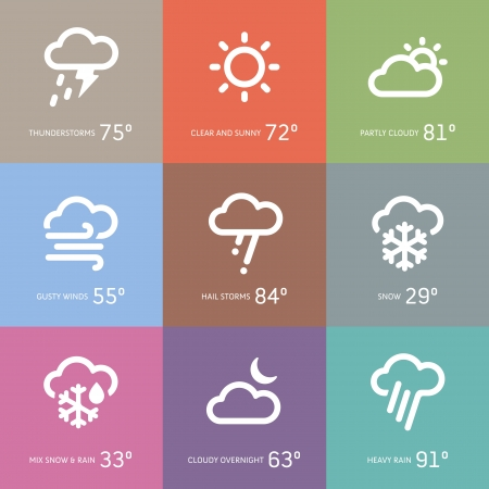 Set of weather and storm symbol icons Illustration