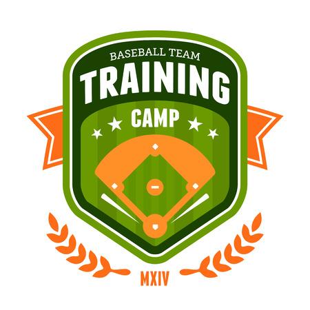 campo de beisbol: El campo de entrenamiento de béisbol Sports diseño de la insignia del emblema Vectores