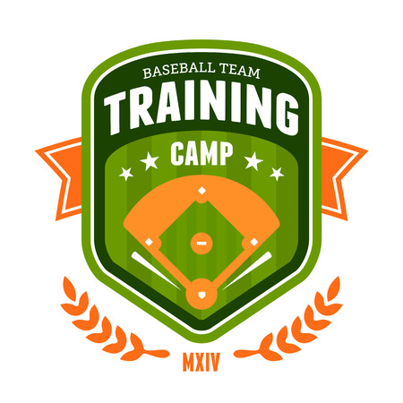 baseball diamond: Sports baseball training camp badge emblem design