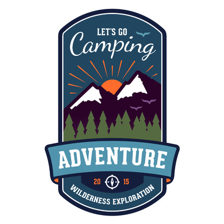 Camping wilderness adventure badge graphic design emblem Vector