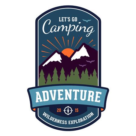 hiking trail: Camping wilderness adventure badge graphic design emblem