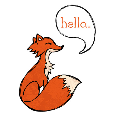 Illustrated fox drawing with text and texture Stock Illustratie