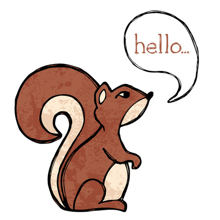 Illustrated squirrel drawing with text and texture