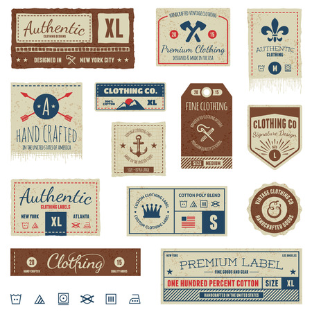 sewn: Set of vintage clothing tags and retro labels