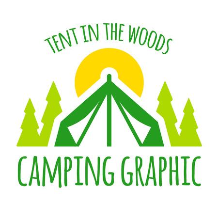 Kamperen tent grafisch met bomen en zonsondergang Stock Illustratie