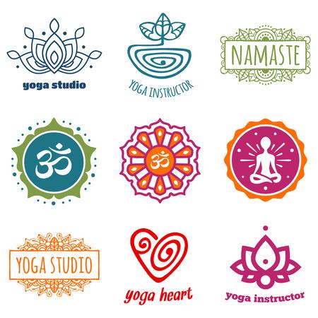yoga meditation: Set of yoga and meditation graphics and symbols Illustration