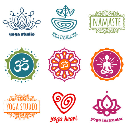 Set of yoga and meditation graphics and symbols Illustration