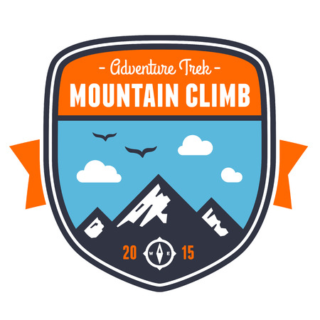 hiking: Mountain climbing adventure badge graphic design emblem