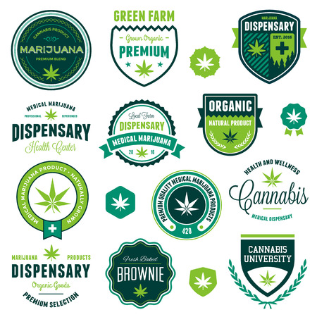 cannabis leaf: Set of marijuana pot product labels and graphics Illustration