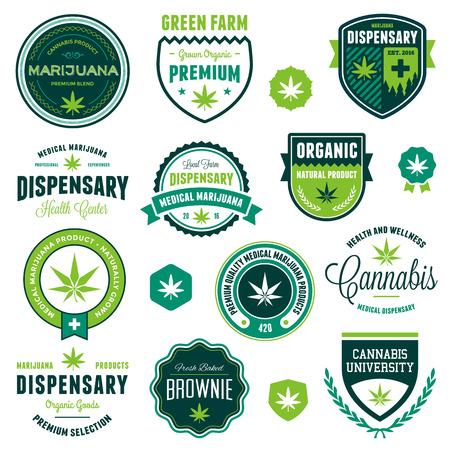 marihuana: Set van marihuana pot product labels en afbeeldingen Stock Illustratie