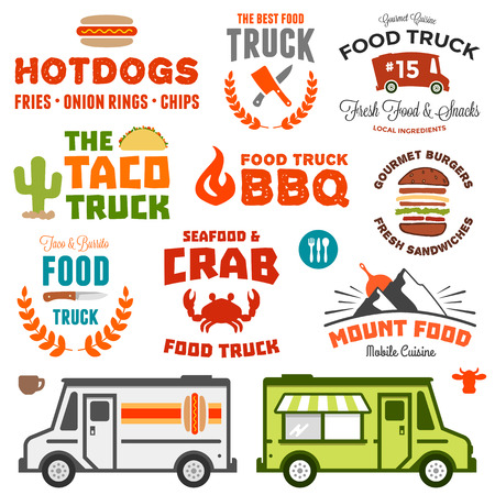 illustration of food: Conjunto de gr�ficos de camiones de alimentos y camiones ilustraci�n