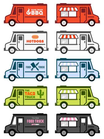 Conjunto de ilustraciones de camiones de alimentos y gráficos Ilustración de vector