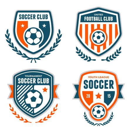 Set van voetbal toppen en embleem ontwerpen
