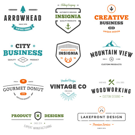 Set of business sign graphics and text designs