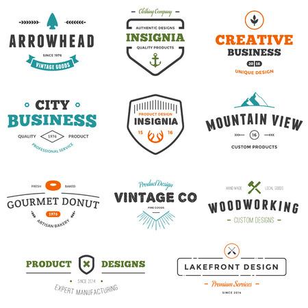 Set van zakelijke teken afbeeldingen en tekst ontwerpen