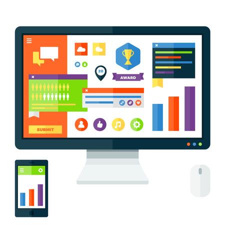 Modern UI-display en grafisch ontwerp elementen Stock Illustratie