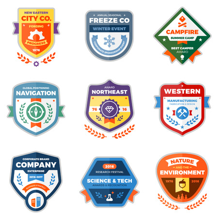 Set of clean modern badges and award graphics 일러스트