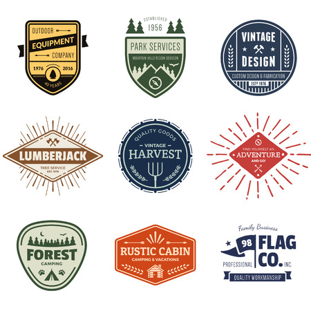 Set of retro vintage badges and label graphics
