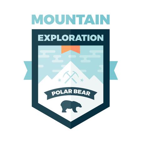 ice ax: Mountain and polar bear badge graphic emblem
