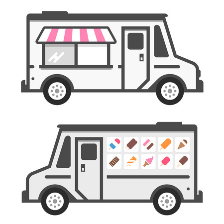 Ice cream truck illustration with product graphics Vector