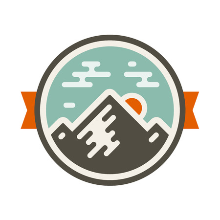 Round mountain badge icon with orange accents