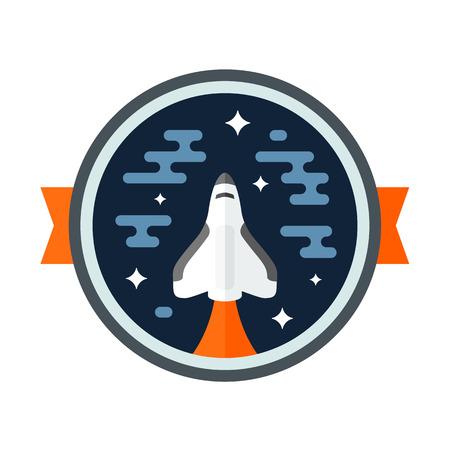 Ronde ruimte scène badge met shuttle raket